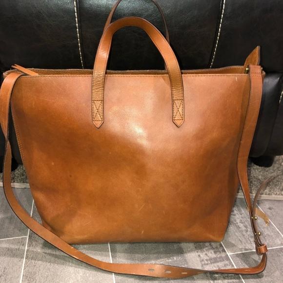 aa2aa13816be Madewell Handbags - Madewell zip top transport leather tote bag